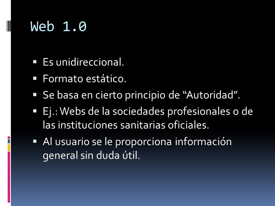 Web 1.0 Es unidireccional. Formato estático.
