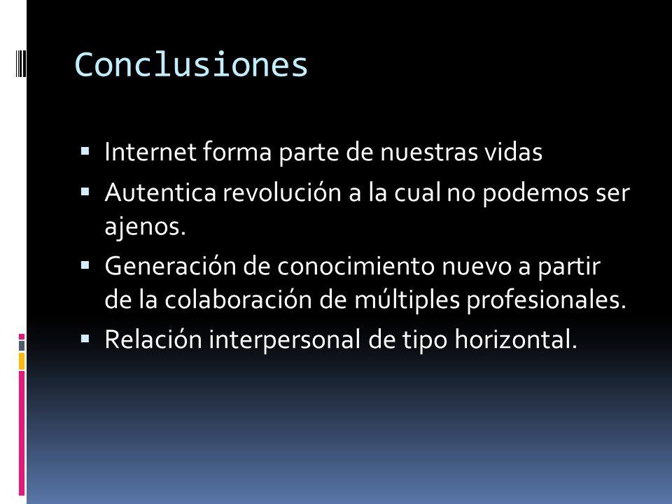 Conclusiones Internet forma parte de nuestras vidas