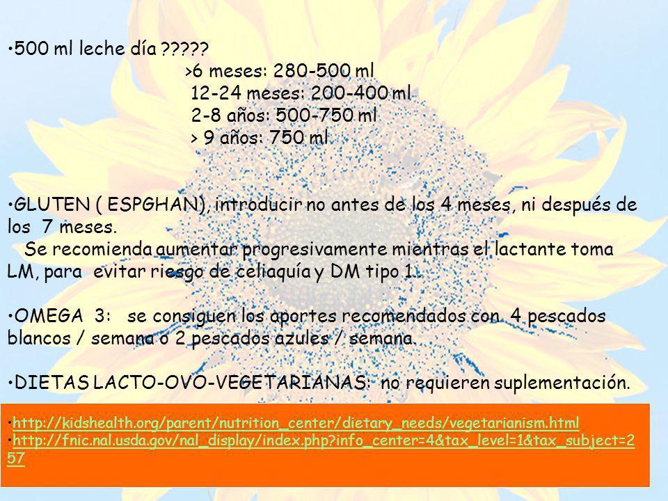 DIETAS LACTO-OVO-VEGETARIANAS: no requieren suplementación.
