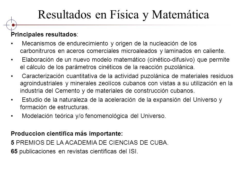 Resultados en Física y Matemática