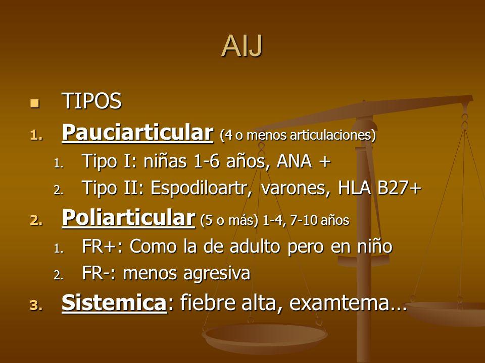 AIJ TIPOS Pauciarticular (4 o menos articulaciones)