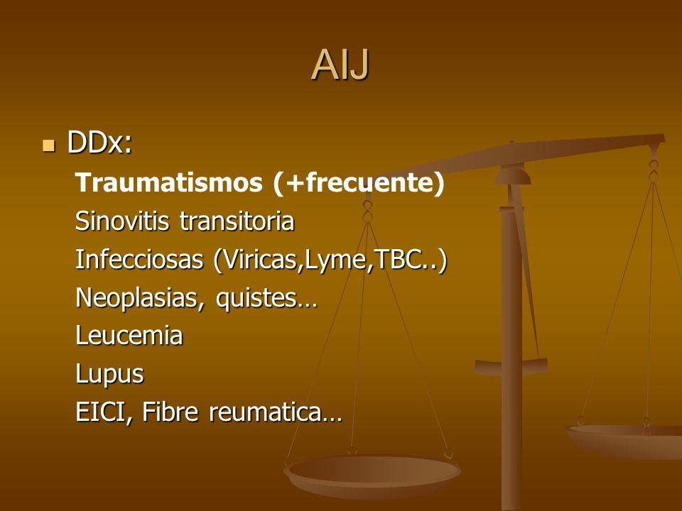 AIJ DDx: Traumatismos (+frecuente) Sinovitis transitoria