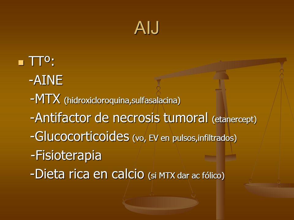 AIJ TTº: -AINE -MTX (hidroxicloroquina,sulfasalacina)