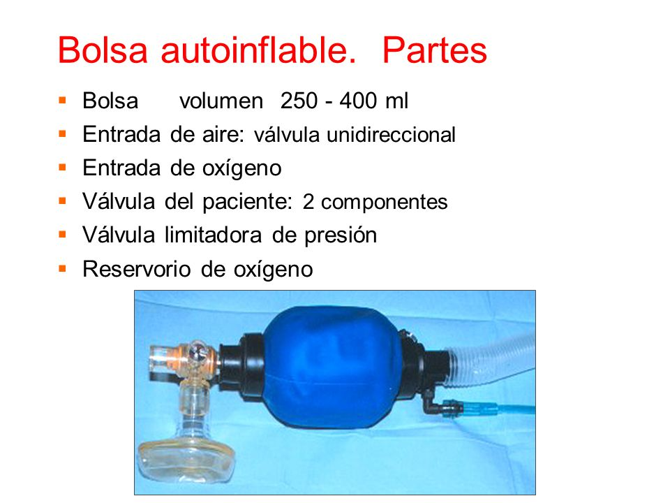 Bolsa autoinflable. Partes