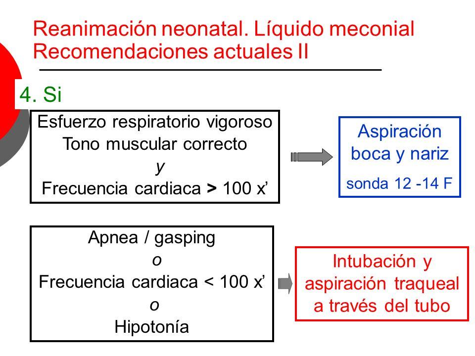 Reanimación neonatal. Líquido meconial Recomendaciones actuales II