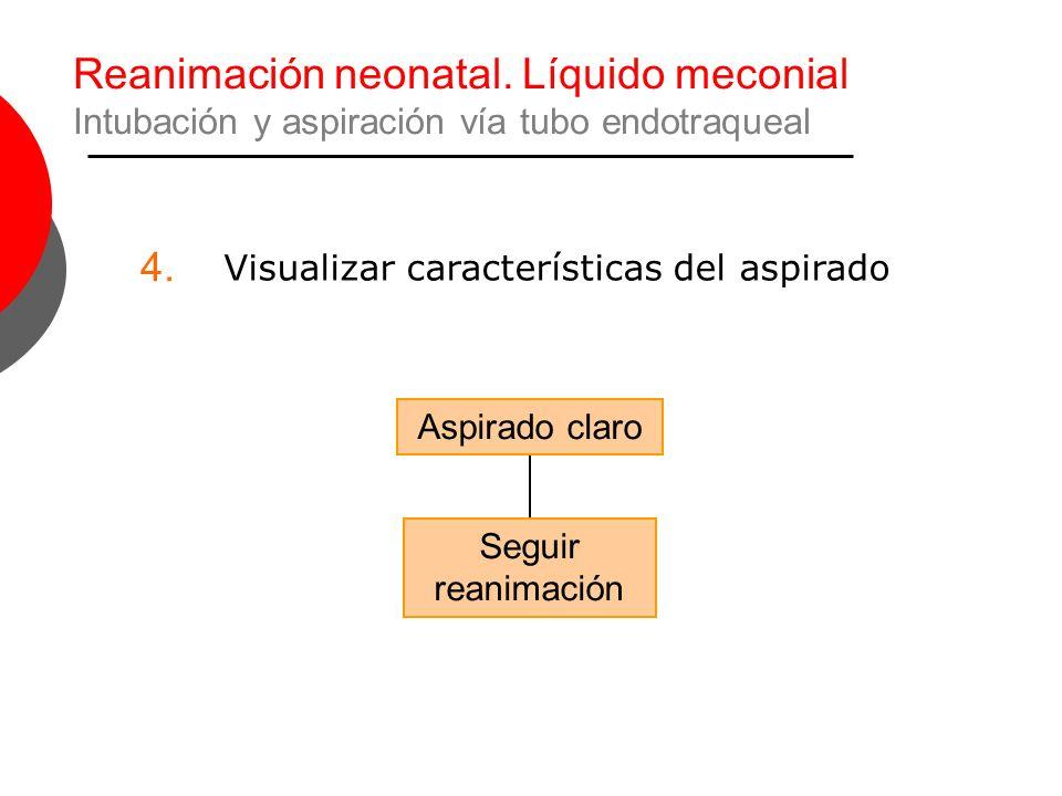 Reanimación neonatal. Líquido meconial Intubación y aspiración vía tubo endotraqueal