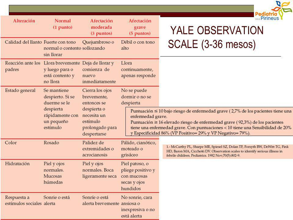 YALE OBSERVATION SCALE (3-36 mesos)