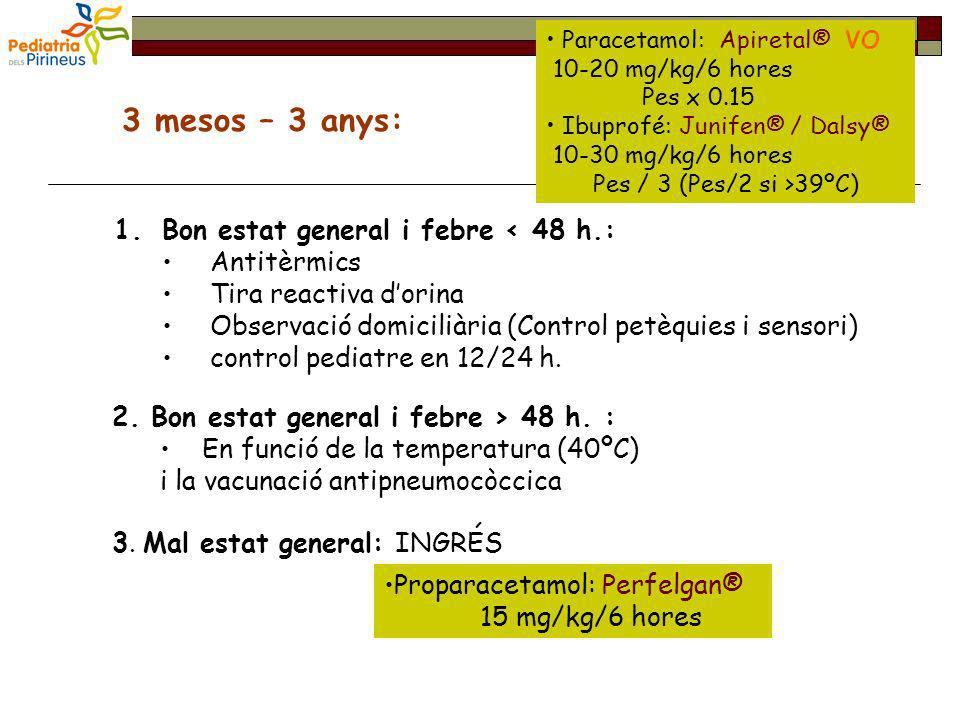 3 mesos – 3 anys: Bon estat general i febre < 48 h.: Antitèrmics