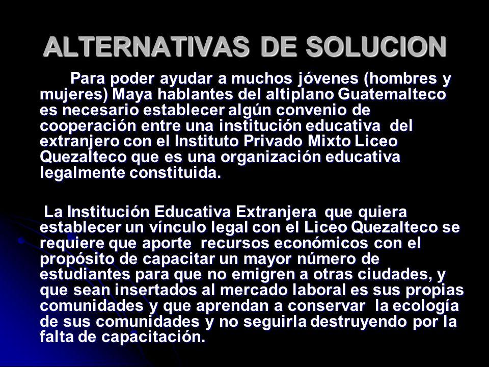 ALTERNATIVAS DE SOLUCION