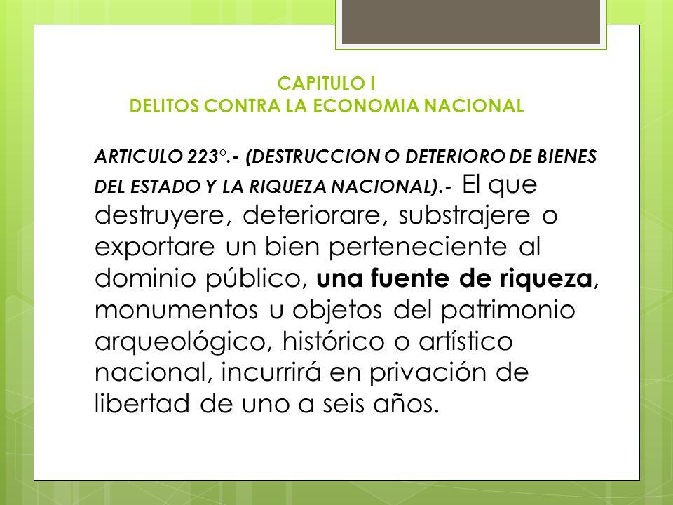 CAPITULO I DELITOS CONTRA LA ECONOMIA NACIONAL