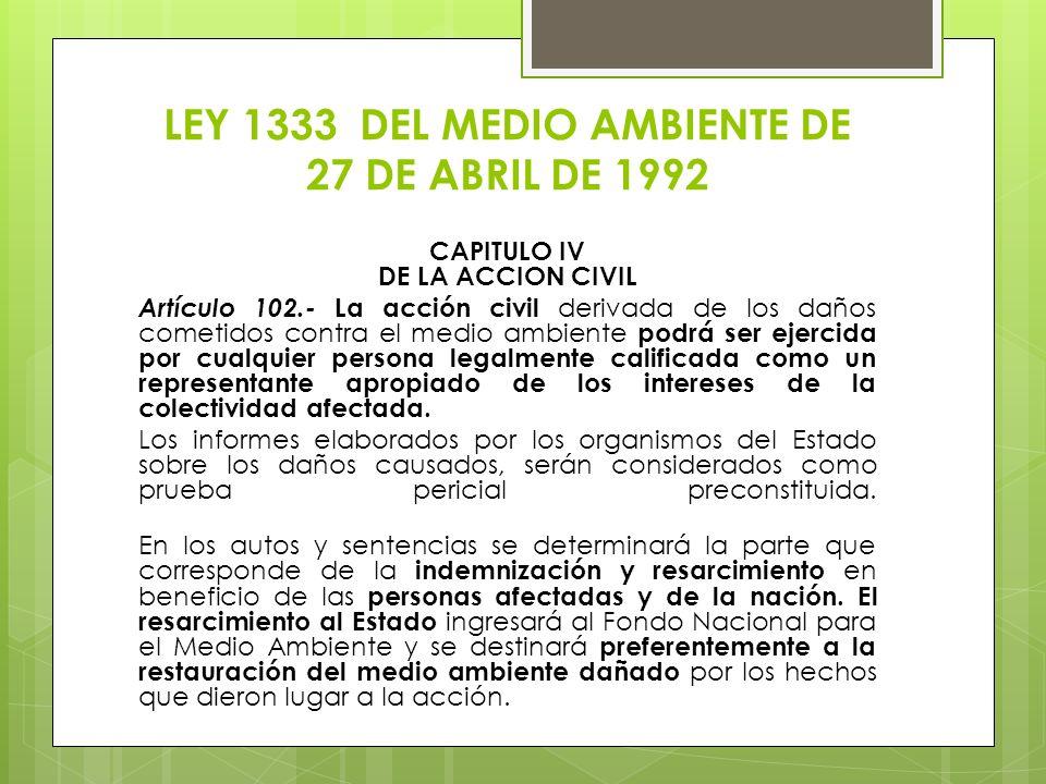 LEY 1333 DEL MEDIO AMBIENTE DE 27 DE ABRIL DE 1992