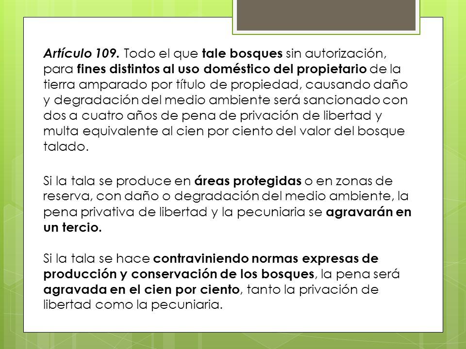 Artículo 109. Todo el que tale bosques sin autorización, para fines distintos al uso doméstico del propietario de la tierra amparado por título de propiedad, causando daño y degradación del medio ambiente será sancionado con dos a cuatro años de pena de privación de libertad y multa equivalente al cien por ciento del valor del bosque talado.