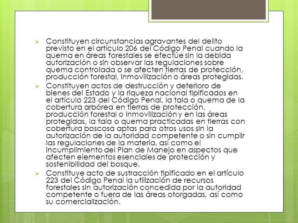 Constituyen circunstancias agravantes del delito previsto en el artículo 206 del Código Penal cuando la quema en áreas forestales se efectúe sin la debida autorización o sin observar las regulaciones sobre quema controlada o se afecten tierras de protección, producción forestal, inmovilización o áreas protegidas.