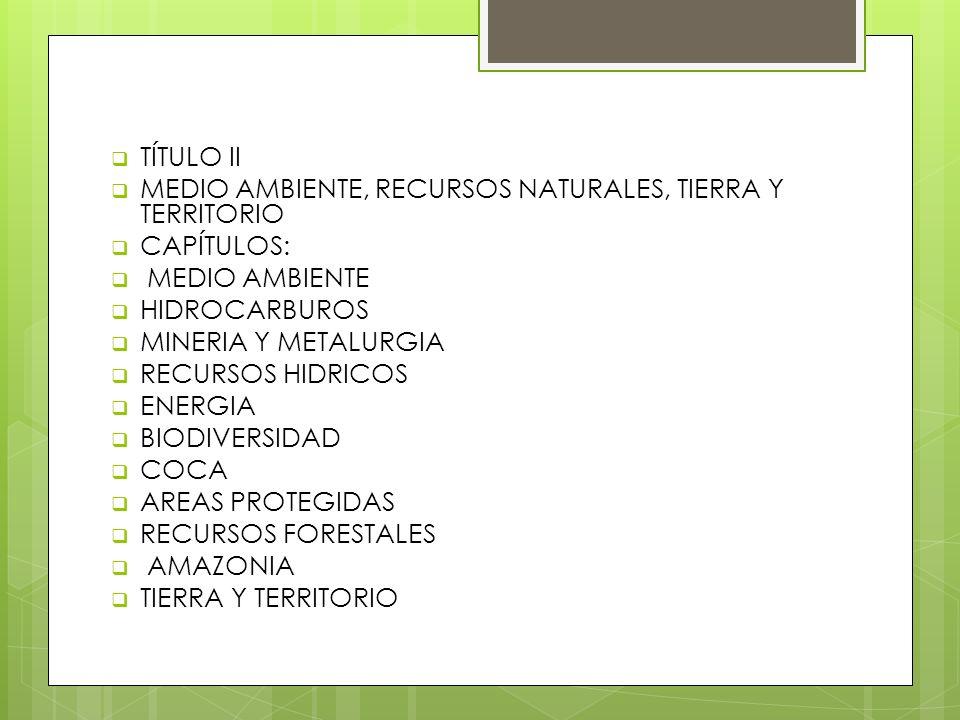 TÍTULO II MEDIO AMBIENTE, RECURSOS NATURALES, TIERRA Y TERRITORIO. CAPÍTULOS: MEDIO AMBIENTE. HIDROCARBUROS.