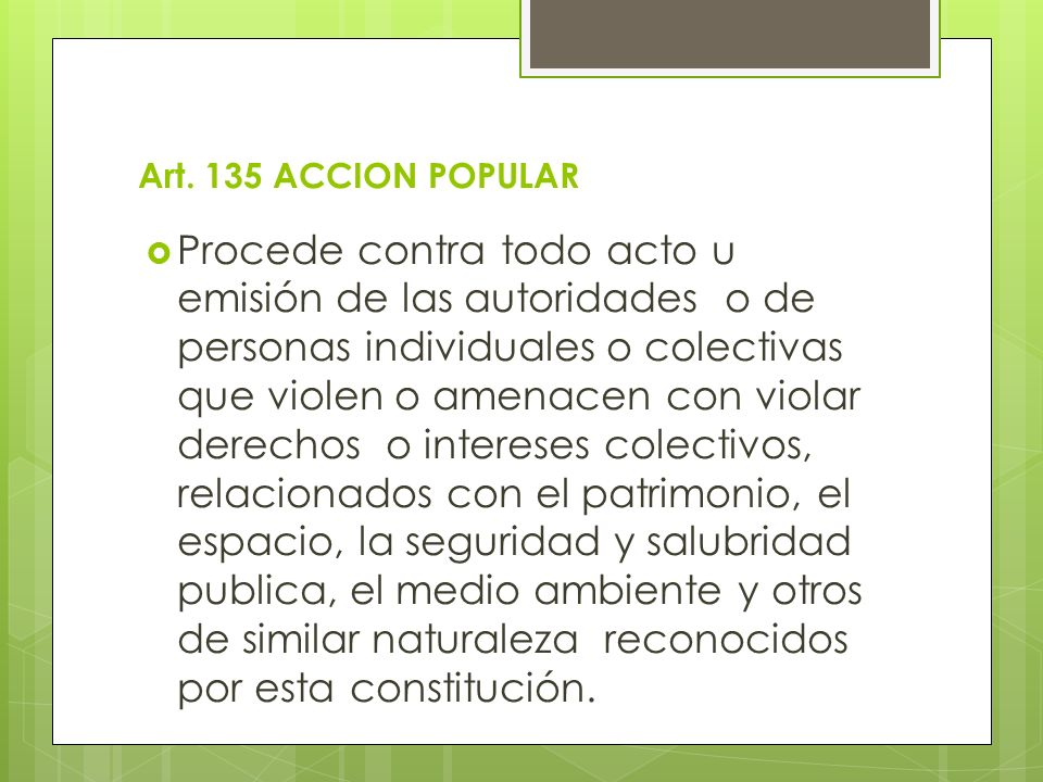 Art. 135 ACCION POPULAR