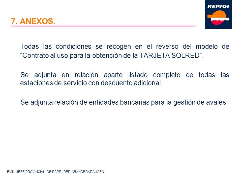 7. ANEXOS. Todas las condiciones se recogen en el reverso del modelo de Contrato al uso para la obtención de la TARJETA SOLRED .