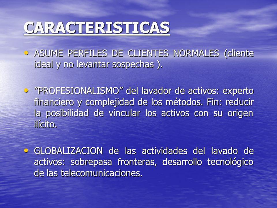 CARACTERISTICAS ASUME PERFILES DE CLIENTES NORMALES (cliente ideal y no levantar sospechas ).