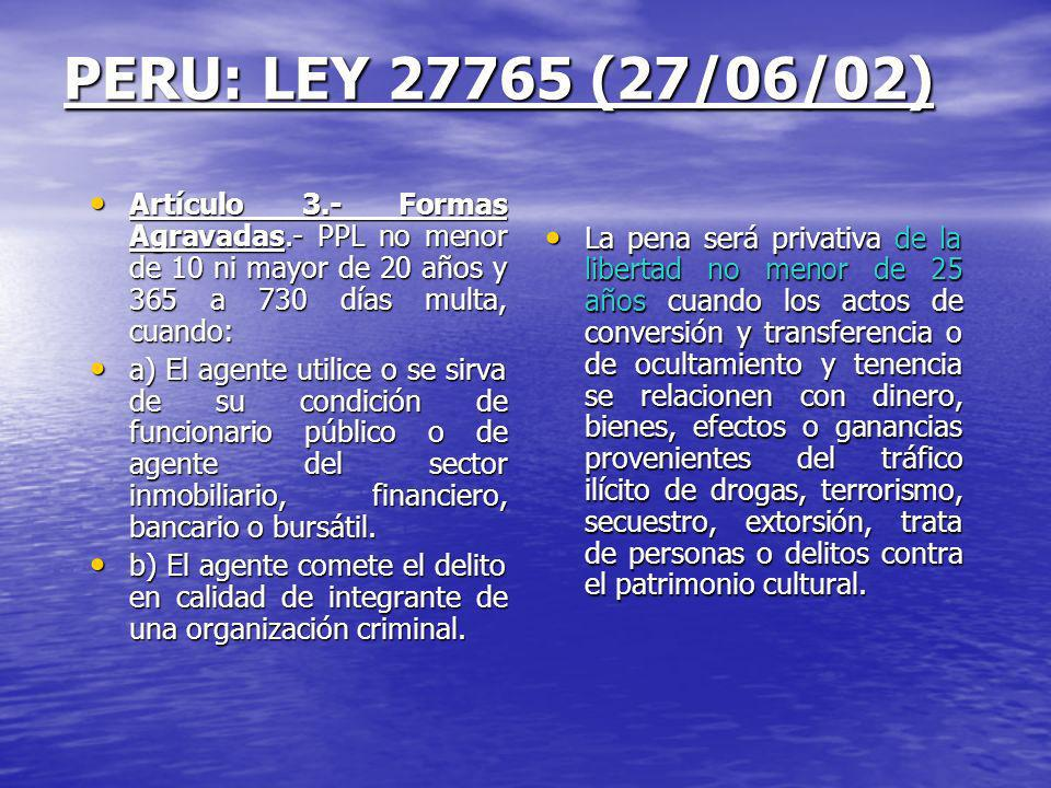 PERU: LEY 27765 (27/06/02) Artículo 3.- Formas Agravadas.- PPL no menor de 10 ni mayor de 20 años y 365 a 730 días multa, cuando:
