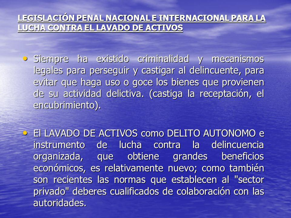 LEGISLACIÓN PENAL NACIONAL E INTERNACIONAL PARA LA LUCHA CONTRA EL LAVADO DE ACTIVOS