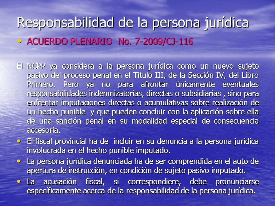 Responsabilidad de la persona jurídica