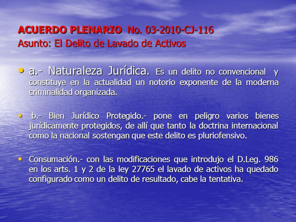 ACUERDO PLENARIO No. 03-2010-CJ-116 Asunto: El Delito de Lavado de Activos