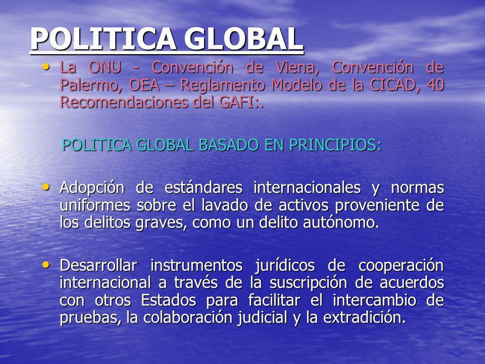 POLITICA GLOBAL La ONU - Convención de Viena, Convención de Palermo, OEA – Reglamento Modelo de la CICAD, 40 Recomendaciones del GAFI:.