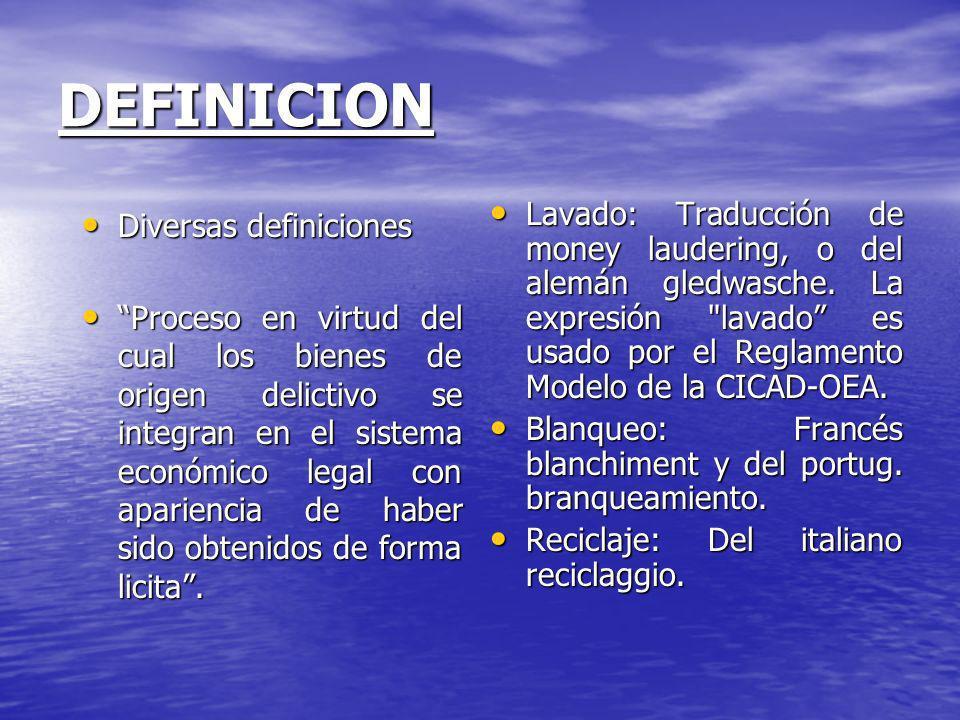 DEFINICION Lavado: Traducción de money laudering, o del alemán gledwasche. La expresión lavado es usado por el Reglamento Modelo de la CICAD-OEA.
