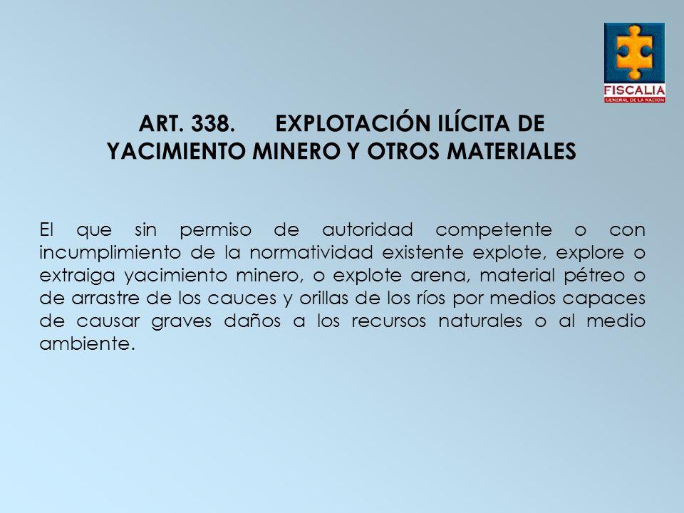 ART. 338. EXPLOTACIÓN ILÍCITA DE YACIMIENTO MINERO Y OTROS MATERIALES