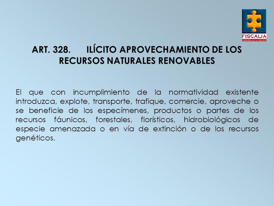 ART. 328. ILÍCITO APROVECHAMIENTO DE LOS RECURSOS NATURALES RENOVABLES