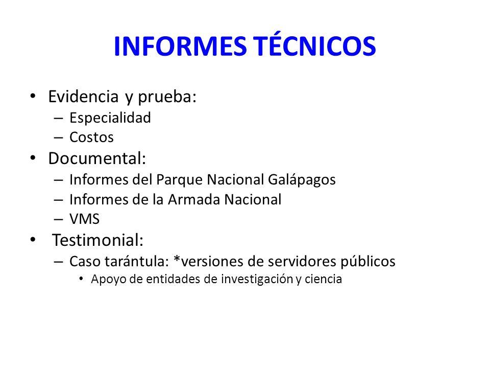 INFORMES TÉCNICOS Evidencia y prueba: Documental: Testimonial: