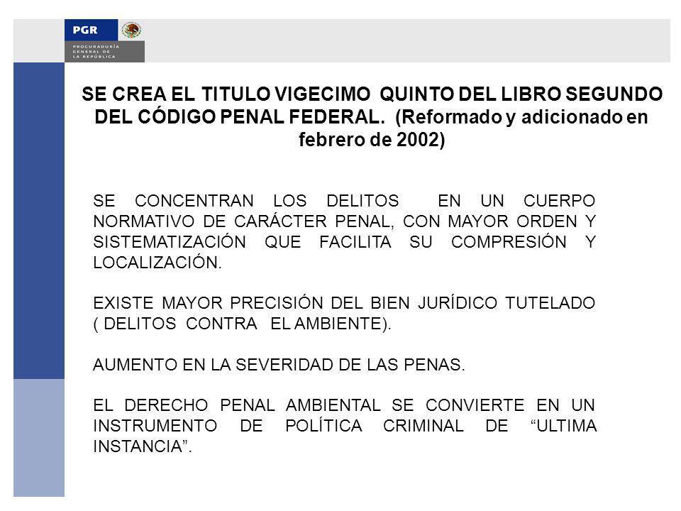 SE CREA EL TITULO VIGECIMO QUINTO DEL LIBRO SEGUNDO DEL CÓDIGO PENAL FEDERAL. (Reformado y adicionado en febrero de 2002)