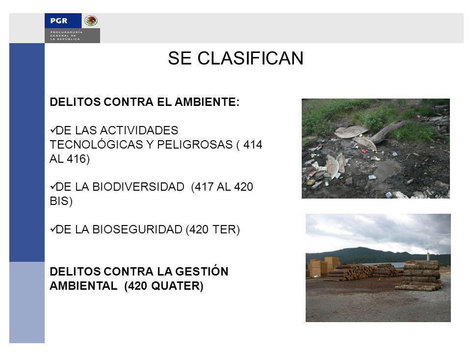 SE CLASIFICAN DELITOS CONTRA EL AMBIENTE: