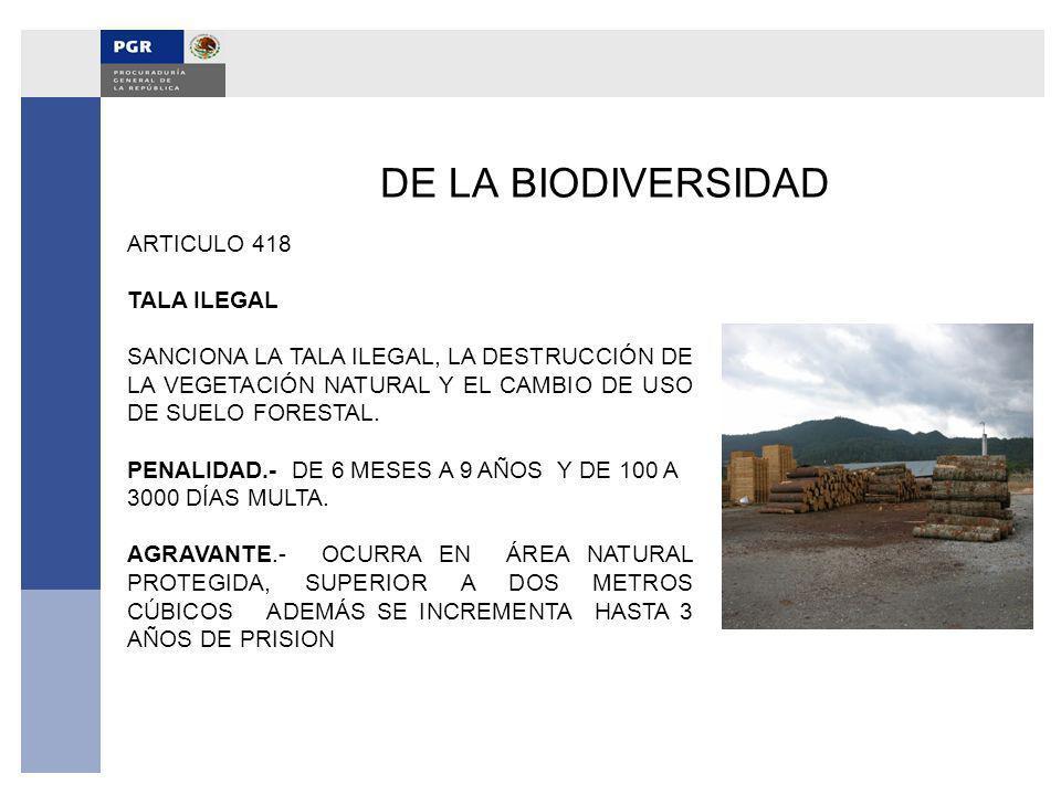 DE LA BIODIVERSIDAD ARTICULO 418 TALA ILEGAL