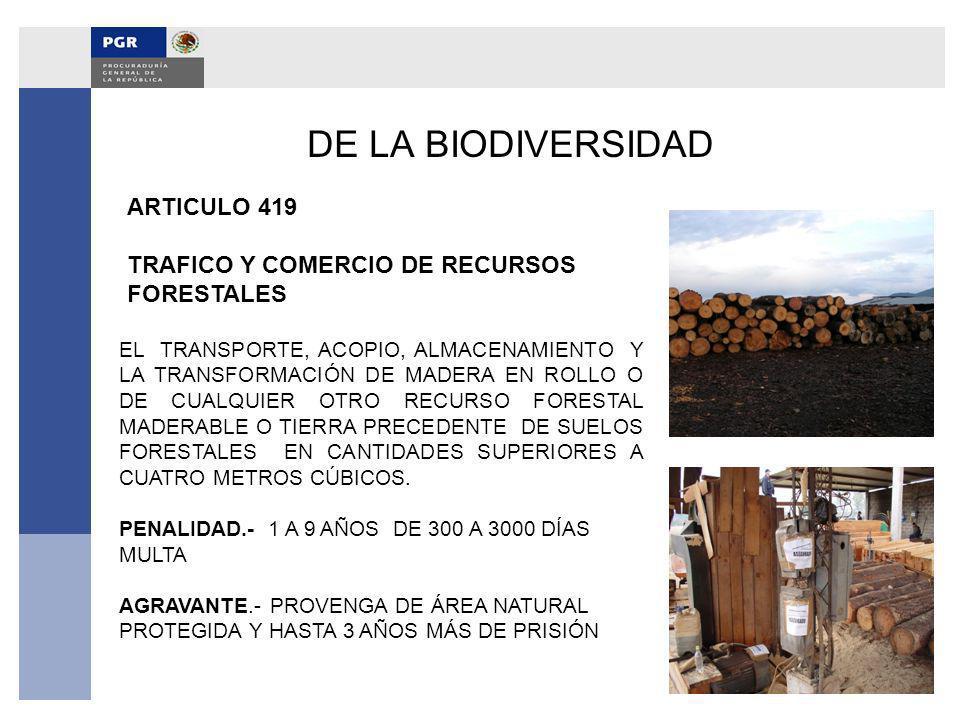 DE LA BIODIVERSIDAD ARTICULO 419