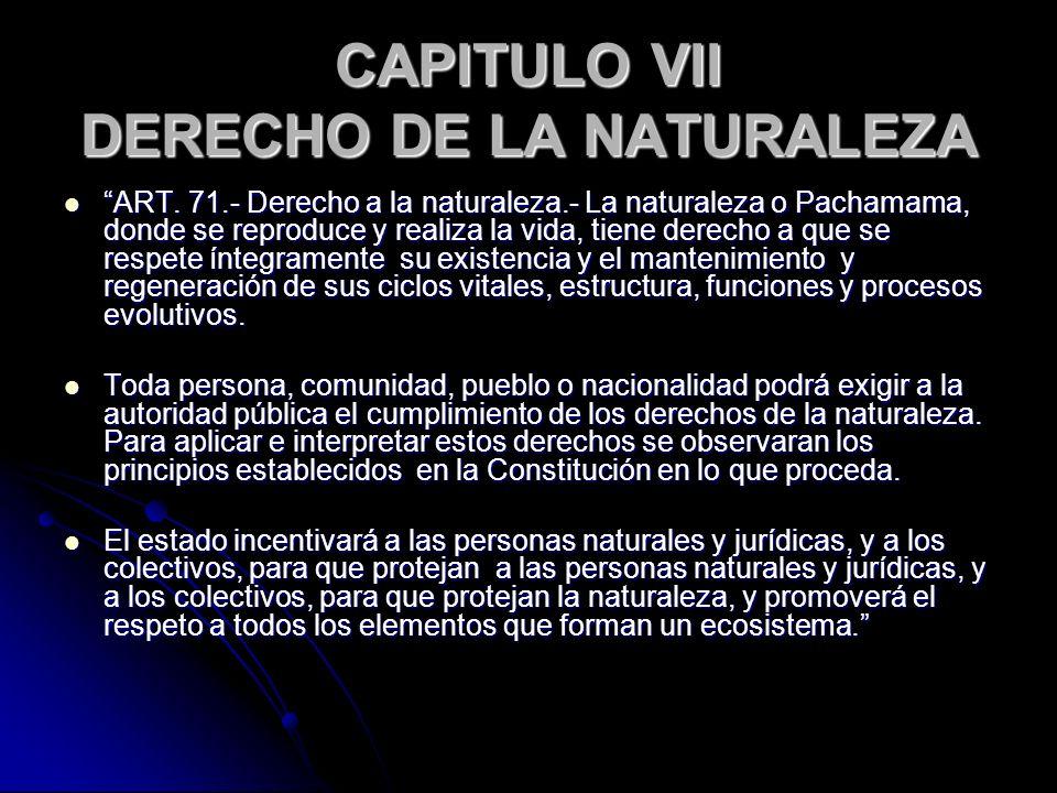 CAPITULO VII DERECHO DE LA NATURALEZA