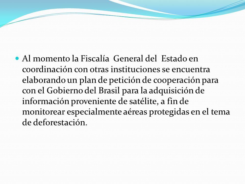 Al momento la Fiscalía General del Estado en coordinación con otras instituciones se encuentra elaborando un plan de petición de cooperación para con el Gobierno del Brasil para la adquisición de información proveniente de satélite, a fin de monitorear especialmente aéreas protegidas en el tema de deforestación.