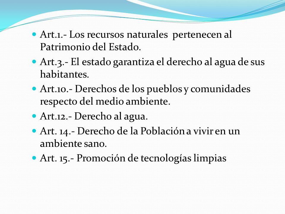 Art.1.- Los recursos naturales pertenecen al Patrimonio del Estado.