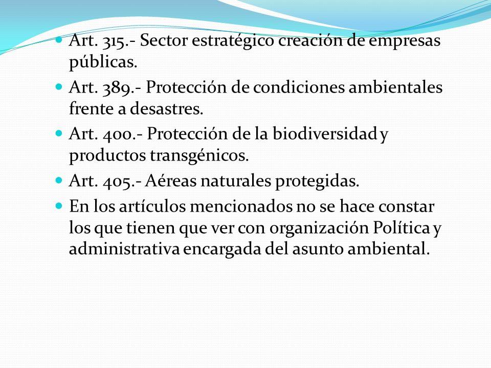 Art. 315.- Sector estratégico creación de empresas públicas.