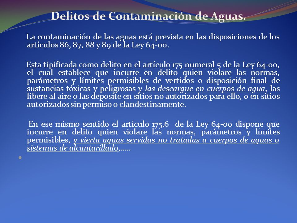Delitos de Contaminación de Aguas.