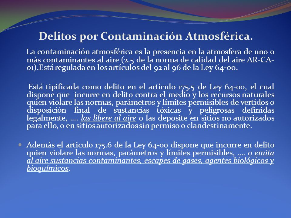 Delitos por Contaminación Atmosférica.
