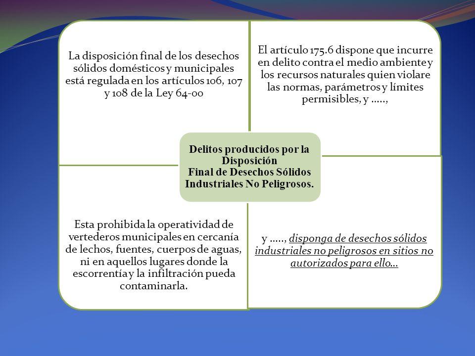 Delitos producidos por la Disposición Final de Desechos Sólidos Industriales No Peligrosos.