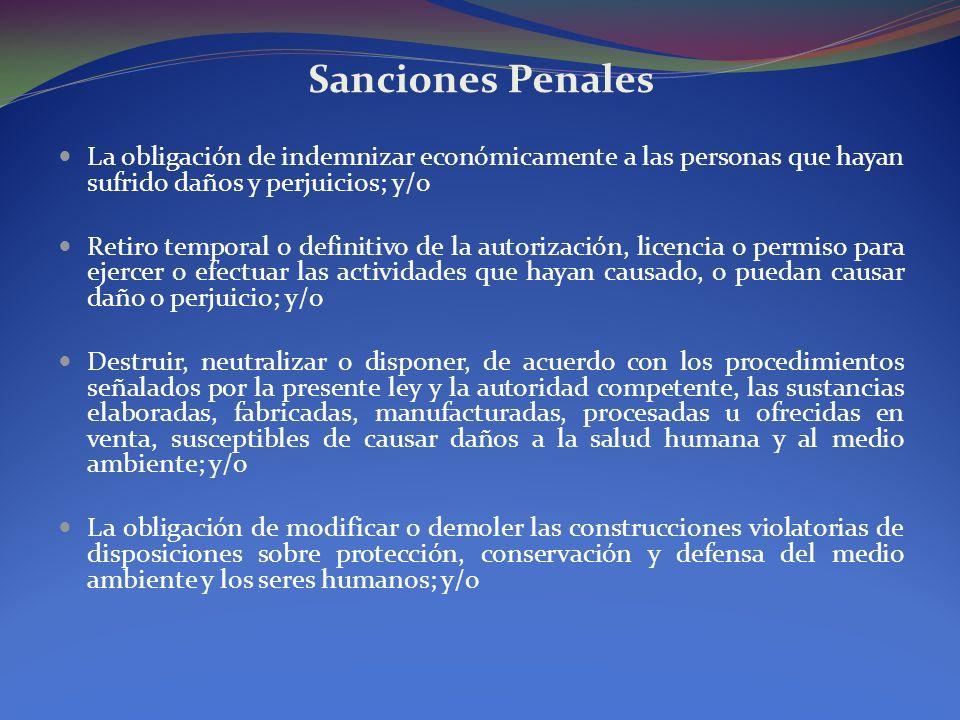 Sanciones PenalesLa obligación de indemnizar económicamente a las personas que hayan sufrido daños y perjuicios; y/o.
