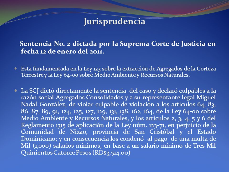 JurisprudenciaSentencia No. 2 dictada por la Suprema Corte de Justicia en fecha 12 de enero del 2011.
