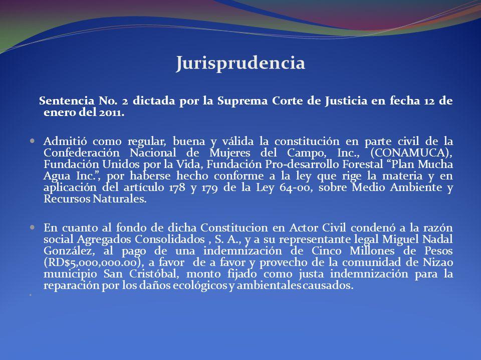 Jurisprudencia Sentencia No. 2 dictada por la Suprema Corte de Justicia en fecha 12 de enero del 2011.