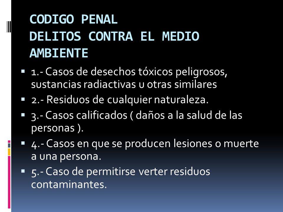 CODIGO PENAL DELITOS CONTRA EL MEDIO AMBIENTE