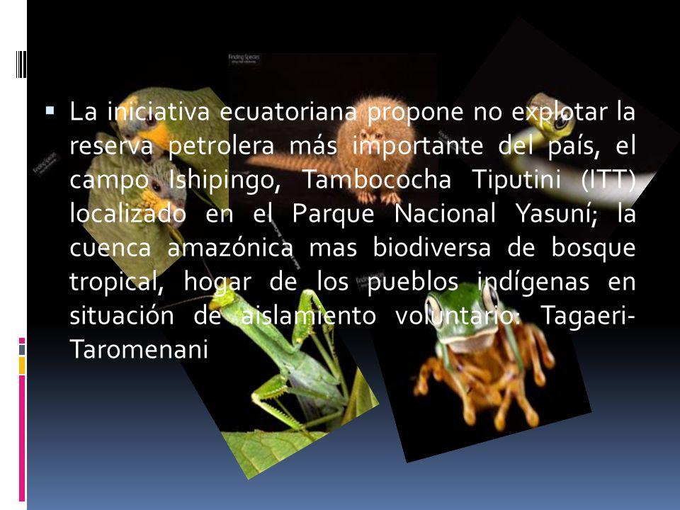 La iniciativa ecuatoriana propone no explotar la reserva petrolera más importante del país, el campo Ishipingo, Tambococha Tiputini (ITT) localizado en el Parque Nacional Yasuní; la cuenca amazónica mas biodiversa de bosque tropical, hogar de los pueblos indígenas en situación de aislamiento voluntario: Tagaeri- Taromenani