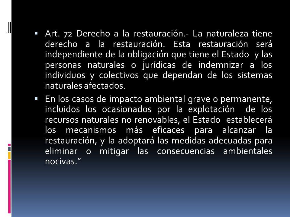 Art. 72 Derecho a la restauración