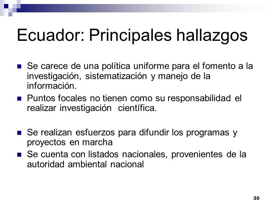 Ecuador: Principales hallazgos