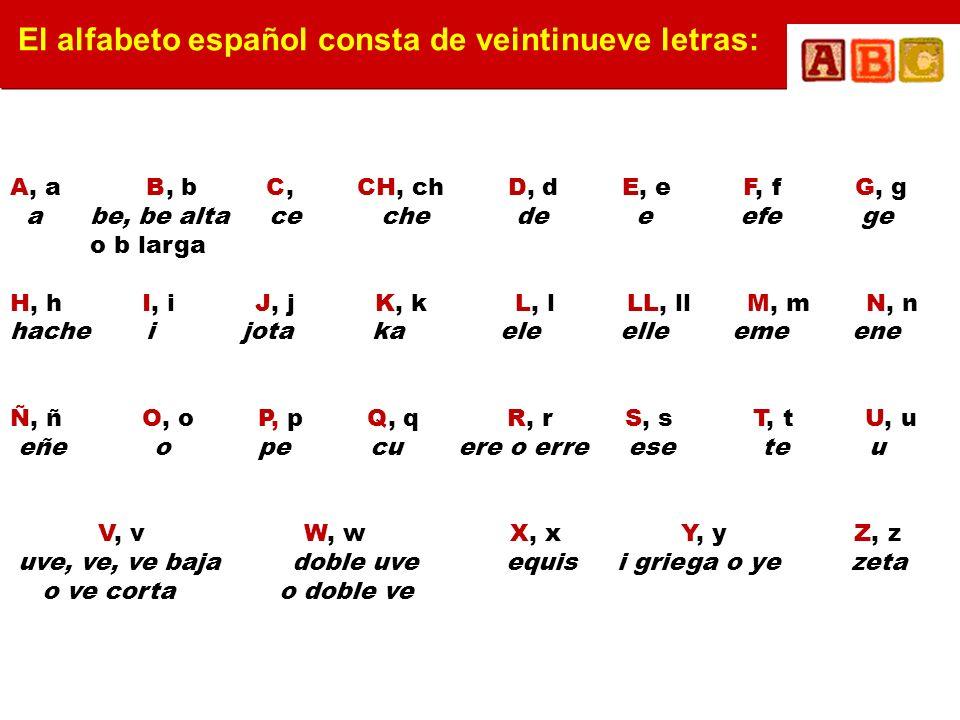 El alfabeto español consta de veintinueve letras: