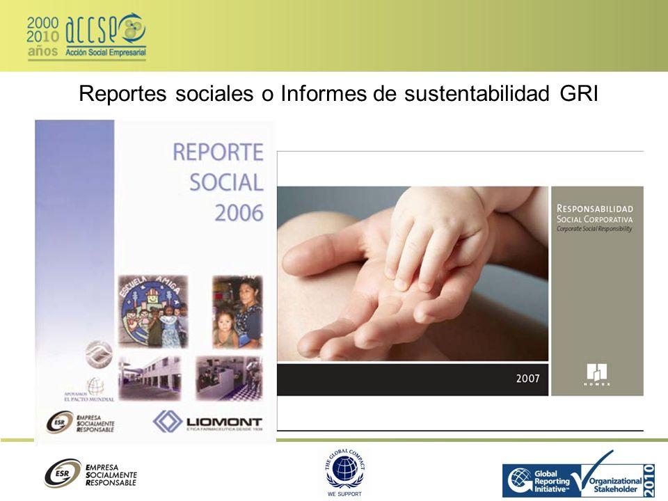 Reportes sociales o Informes de sustentabilidad GRI